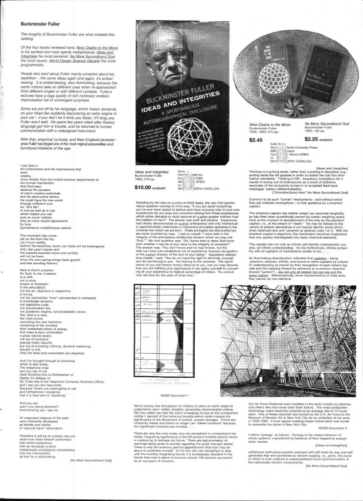 Page from the Whole Earth Catalog