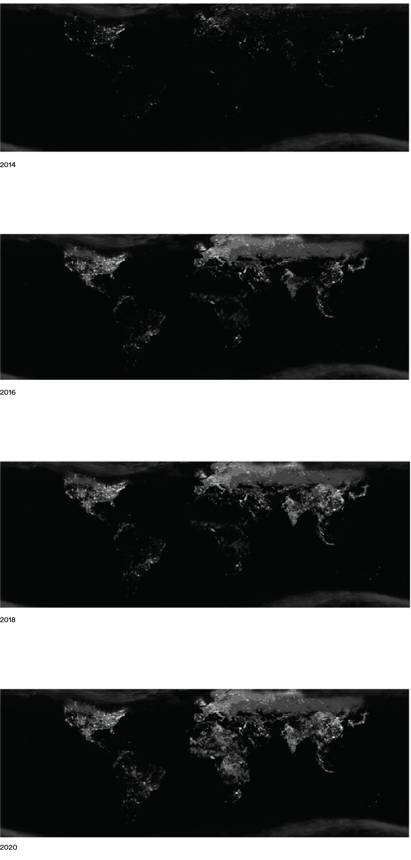 World at Night 2014-2020: Snapshots (via NOAA)